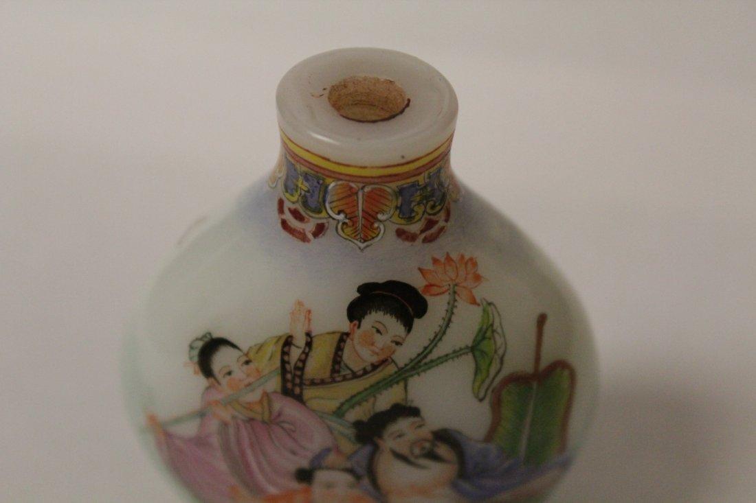 Chinese enamel on milk glass snuff bottle - 6