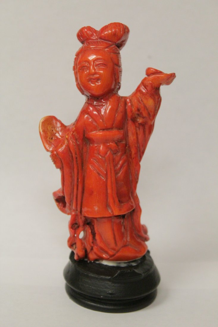 Coral like stone carved Guanyin