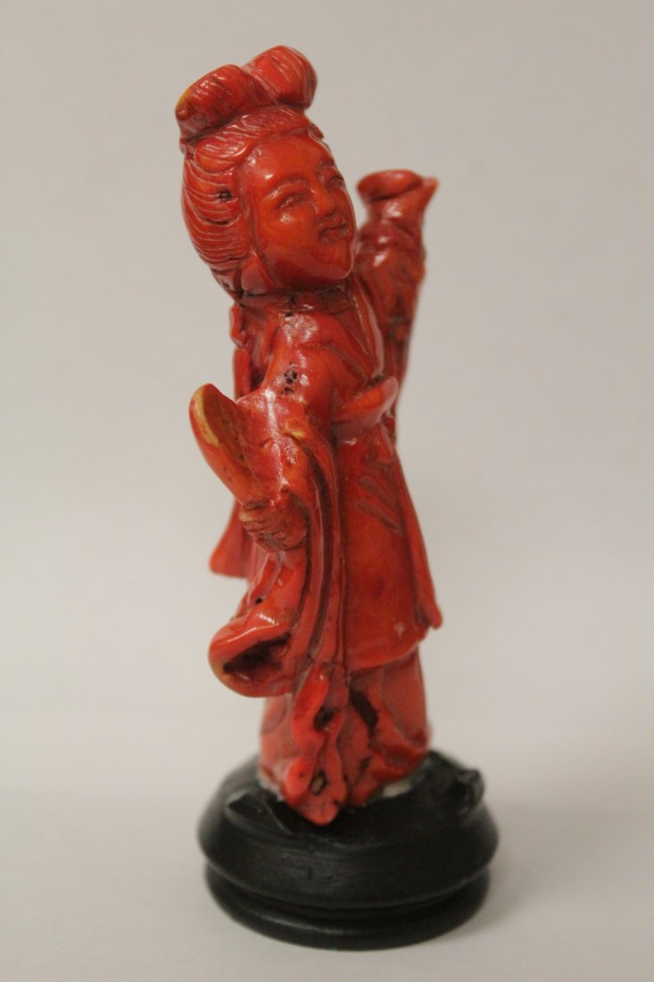 Coral like stone carved Guanyin - 4