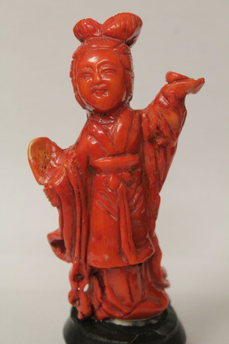 Coral like stone carved Guanyin - 5