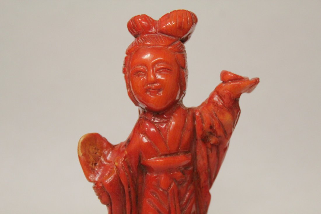 Coral like stone carved Guanyin - 6