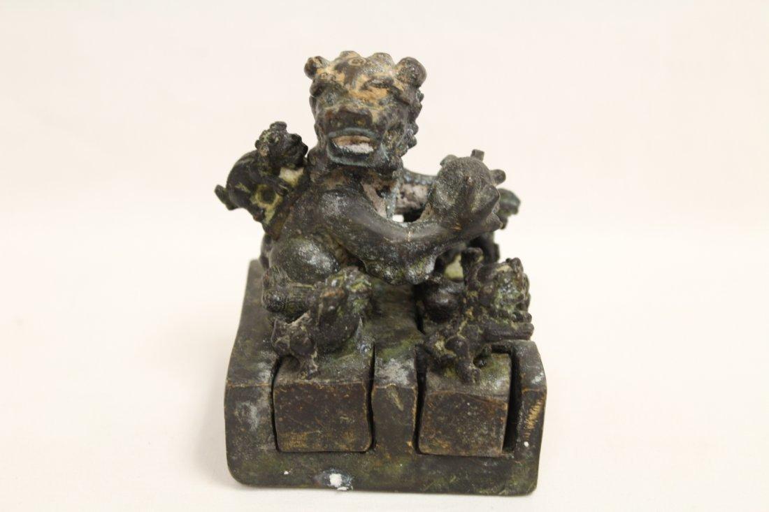 Chinese bronze seal set