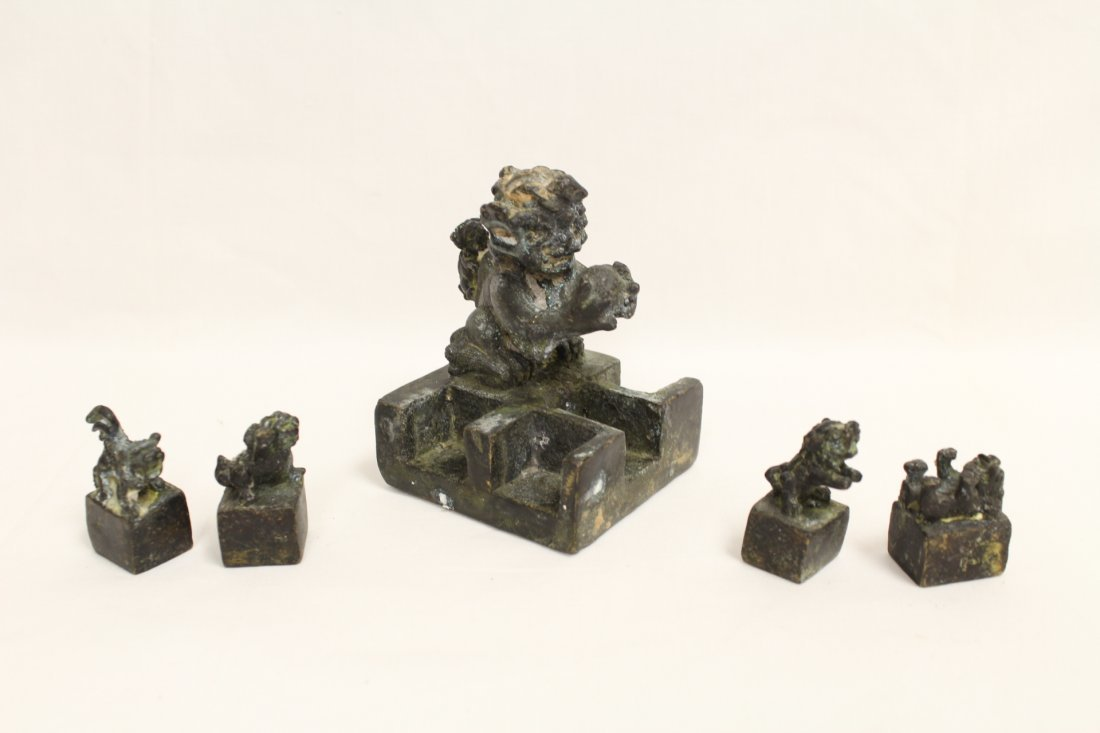 Chinese bronze seal set - 2