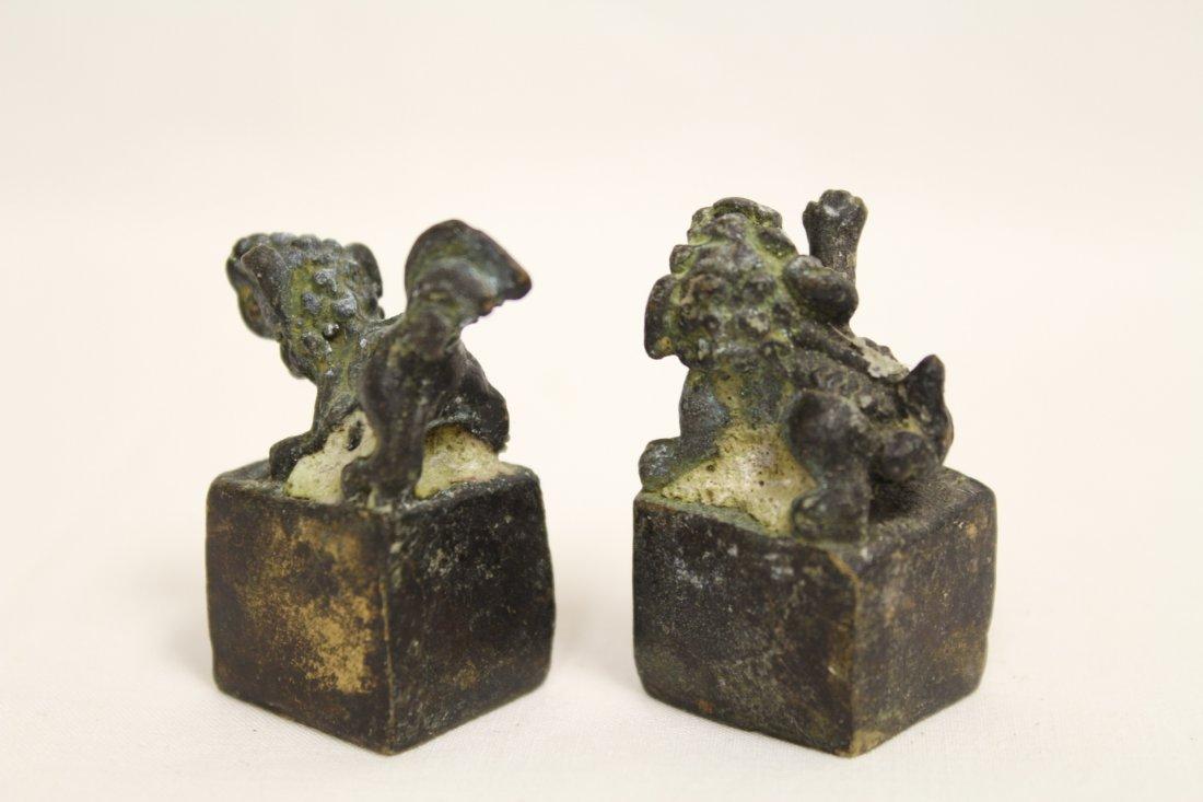 Chinese bronze seal set - 6