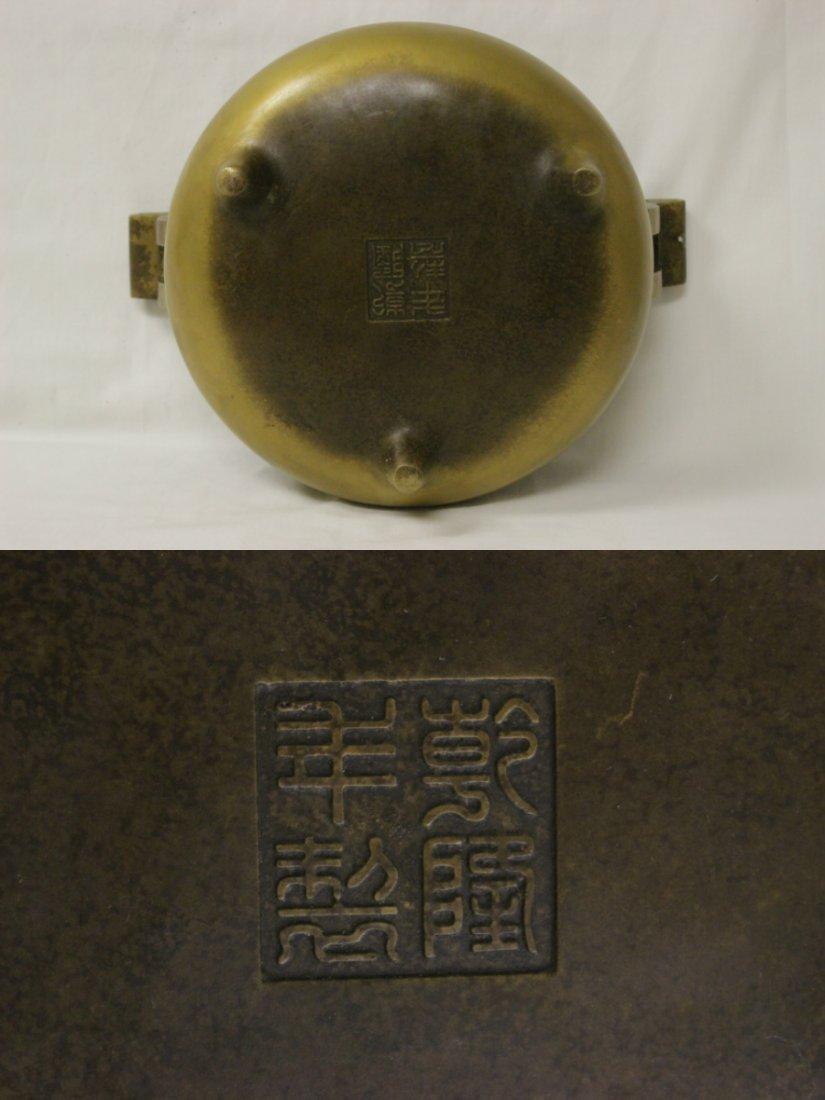 Large Chinese bronze handled censer - 10