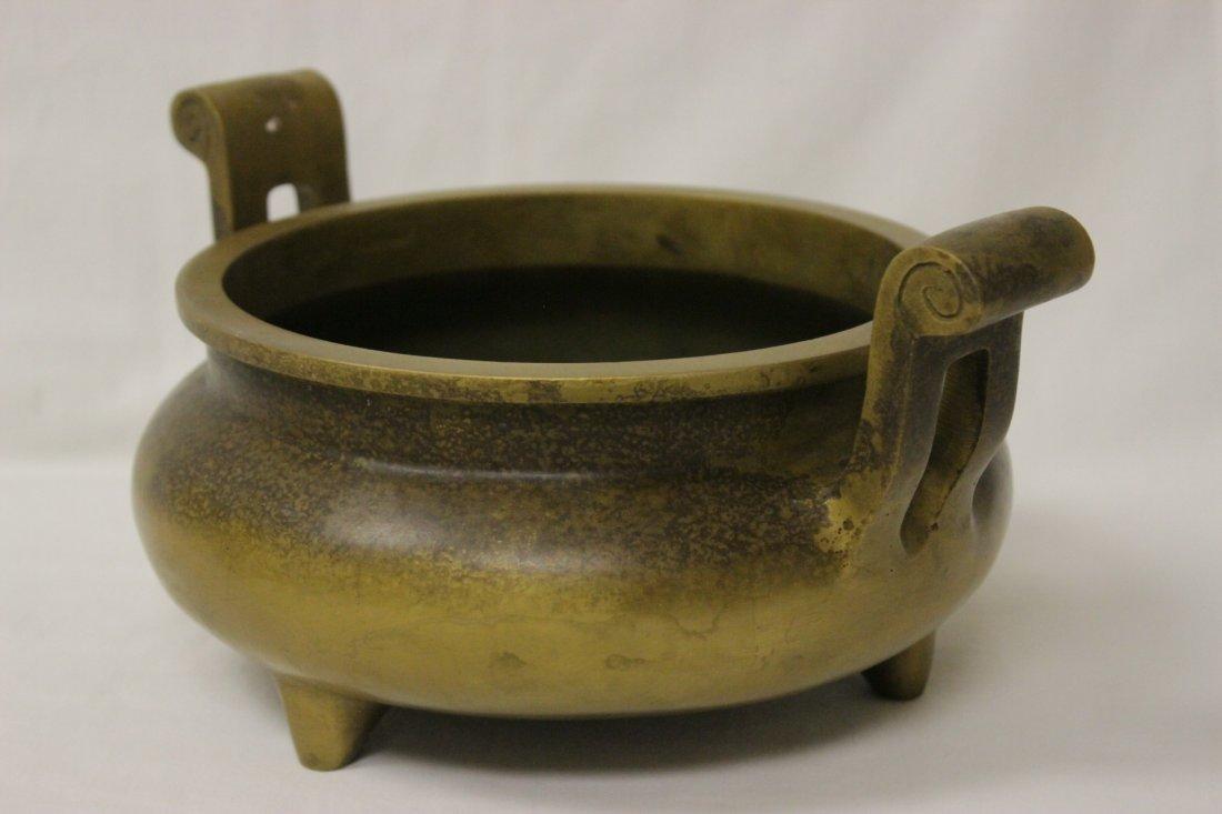 Large Chinese bronze handled censer - 4