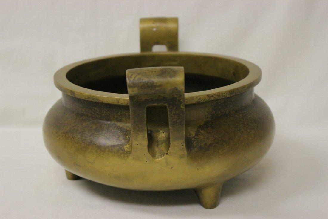Large Chinese bronze handled censer - 5