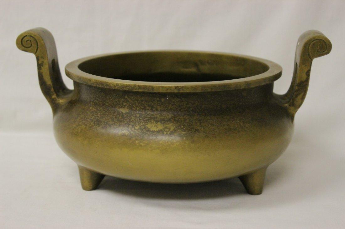 Large Chinese bronze handled censer - 6