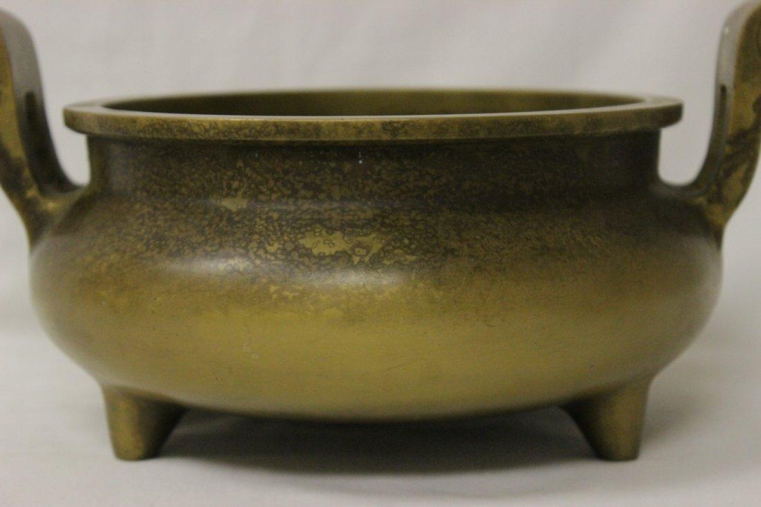 Large Chinese bronze handled censer - 7