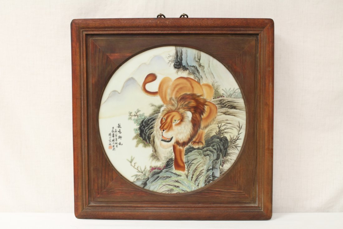 Pair Chinese framed porcelain plaques - 2