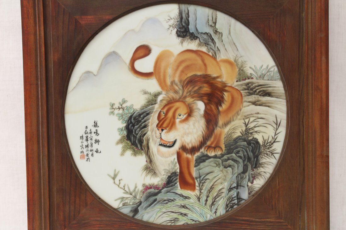 Pair Chinese framed porcelain plaques - 3
