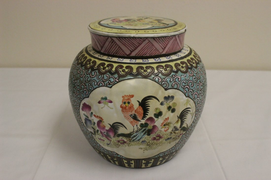 Chinese enamel on Yixing clay covered jar