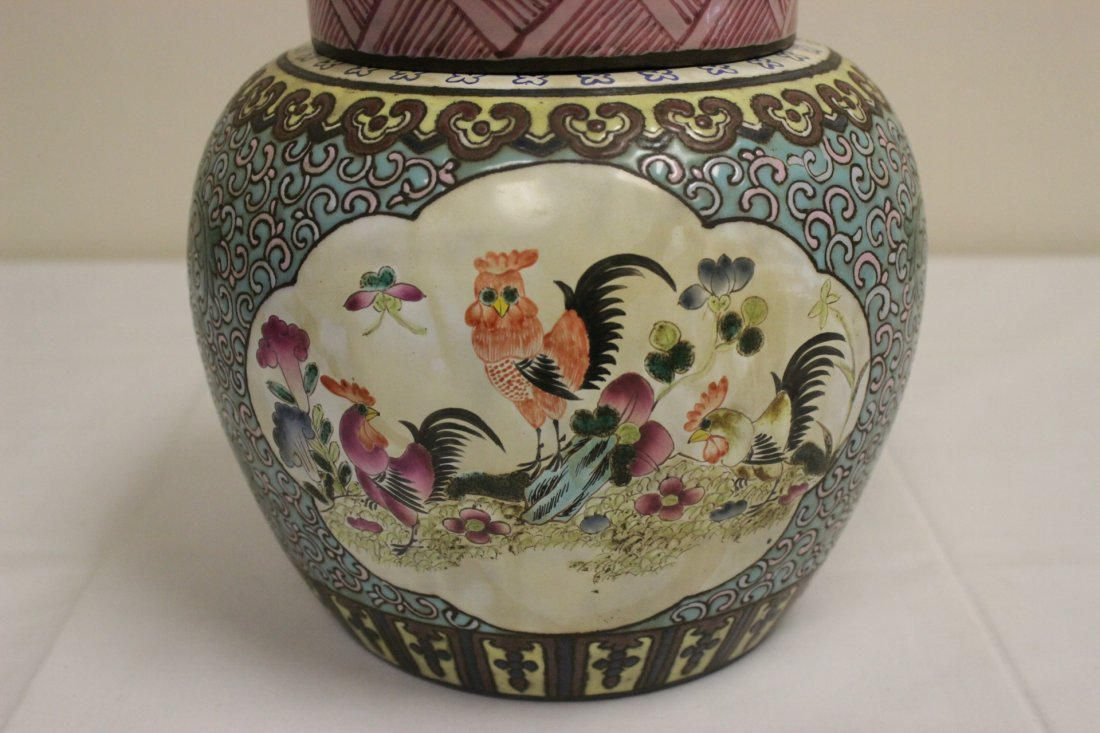 Chinese enamel on Yixing clay covered jar - 2