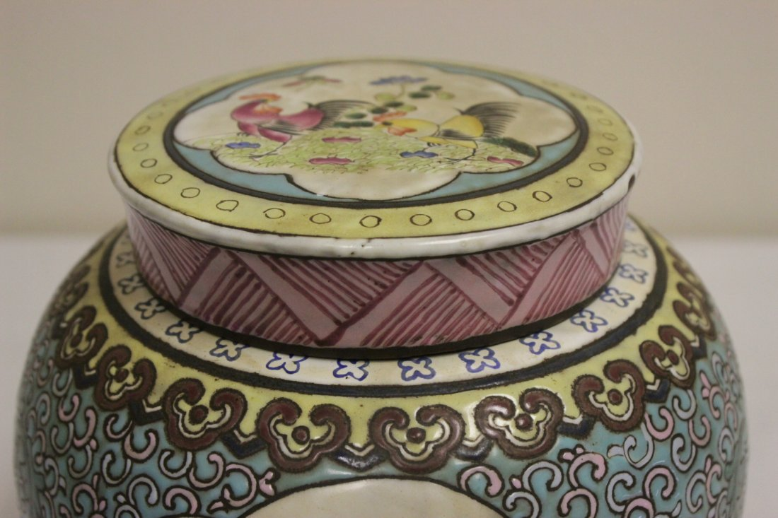 Chinese enamel on Yixing clay covered jar - 3