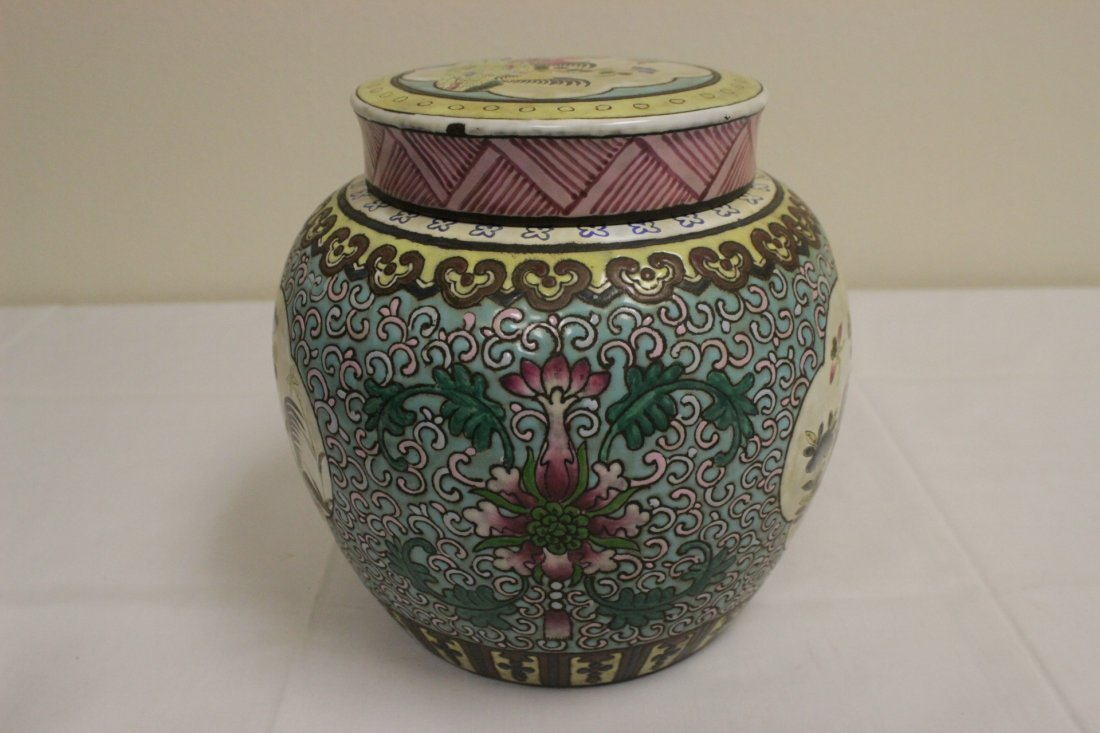 Chinese enamel on Yixing clay covered jar - 4