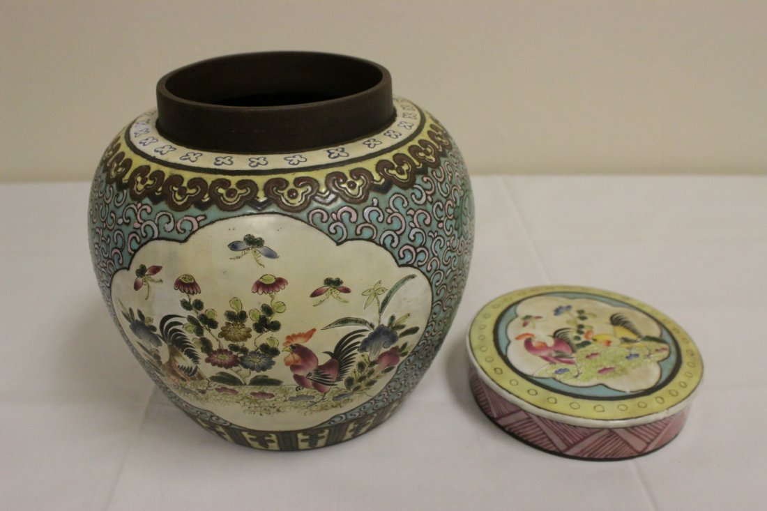 Chinese enamel on Yixing clay covered jar - 5