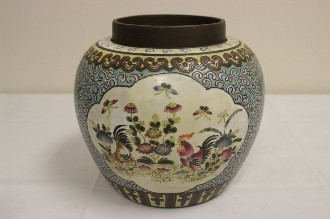 Chinese enamel on Yixing clay covered jar - 6