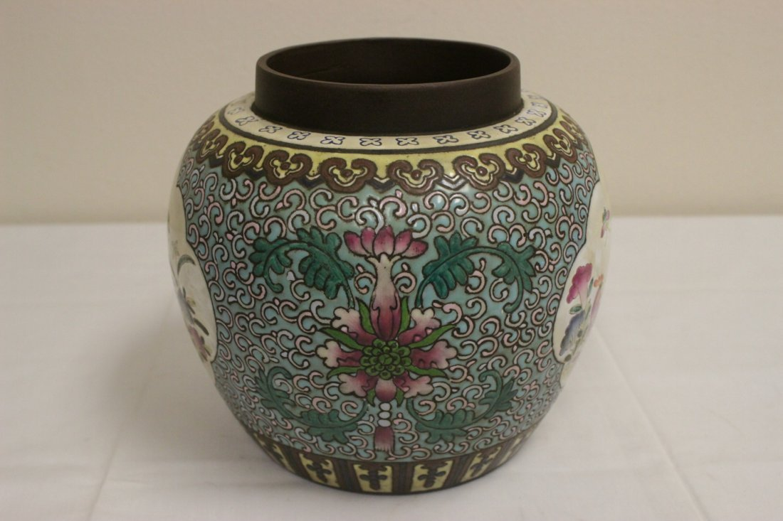 Chinese enamel on Yixing clay covered jar - 7