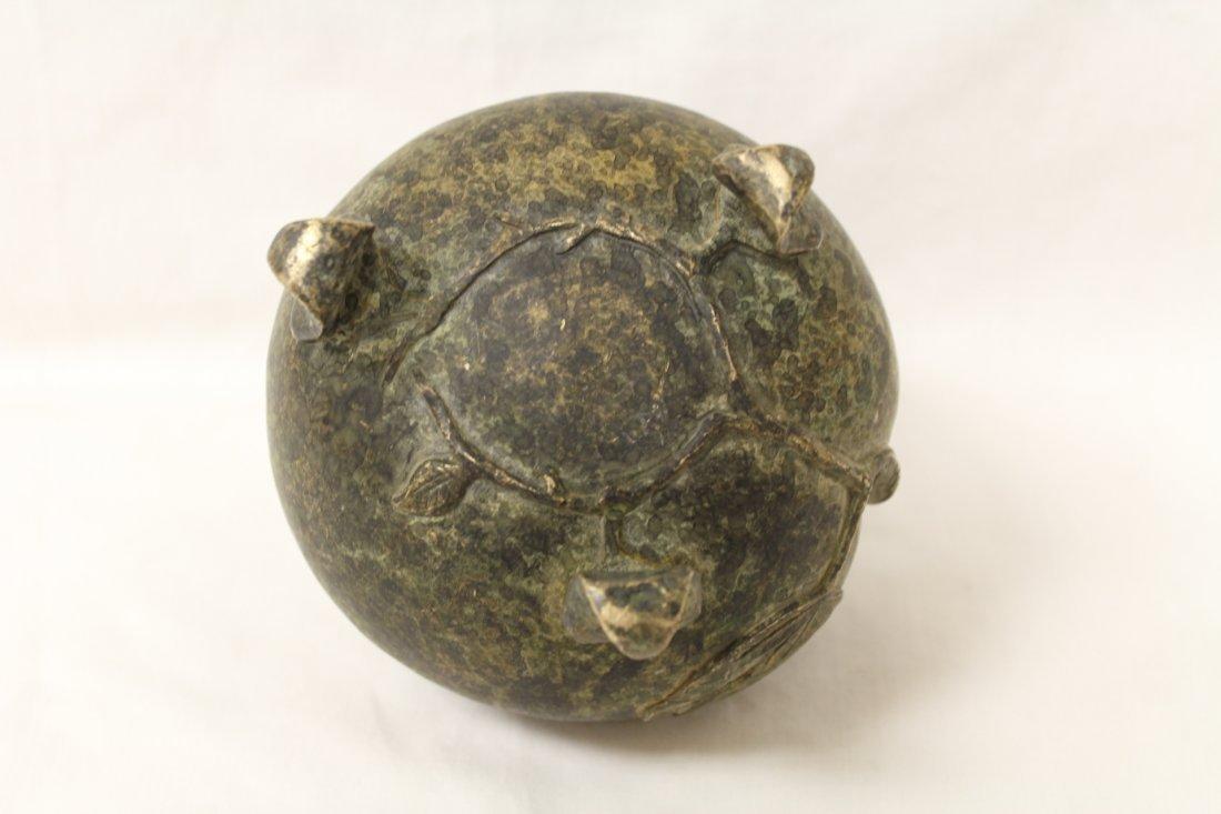 Unusual shape bronze covered censer - 10