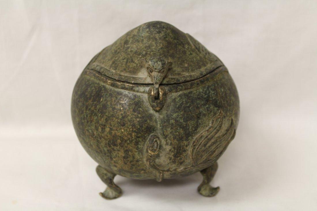Unusual shape bronze covered censer