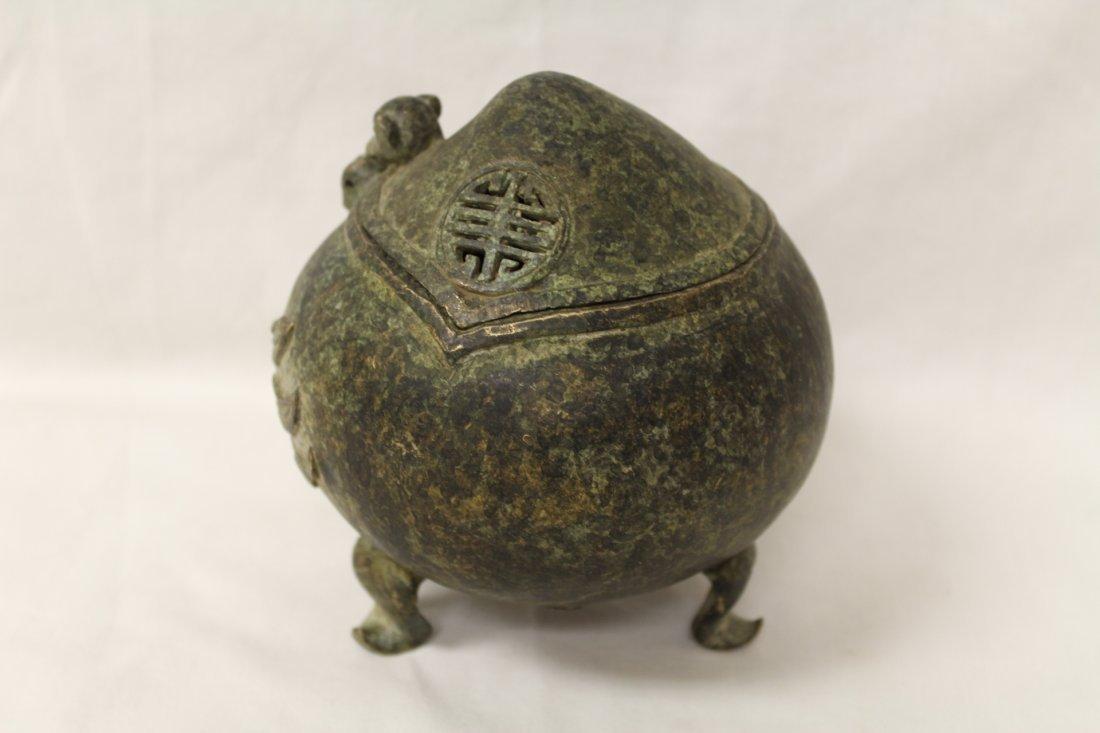 Unusual shape bronze covered censer - 3