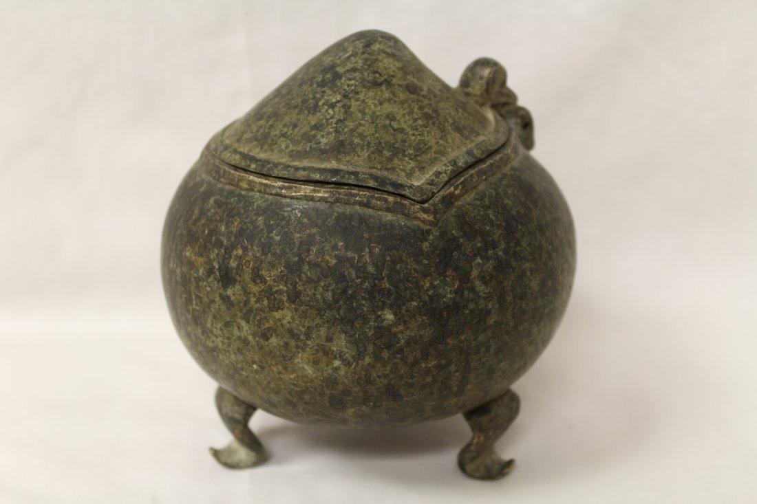 Unusual shape bronze covered censer - 5