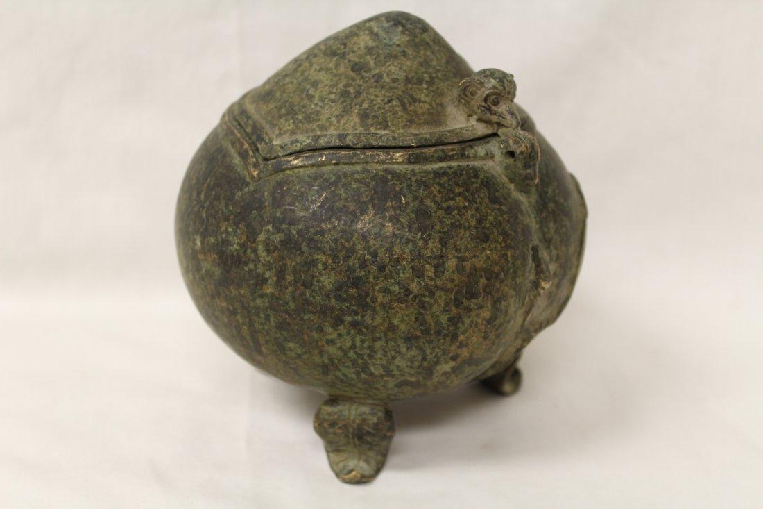 Unusual shape bronze covered censer - 6