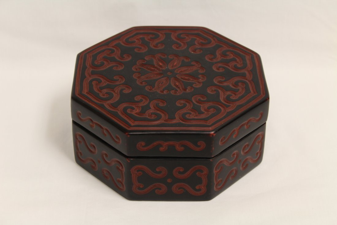 Chinese octagonal lacquer box