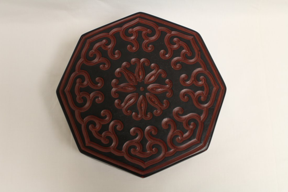 Chinese octagonal lacquer box - 4