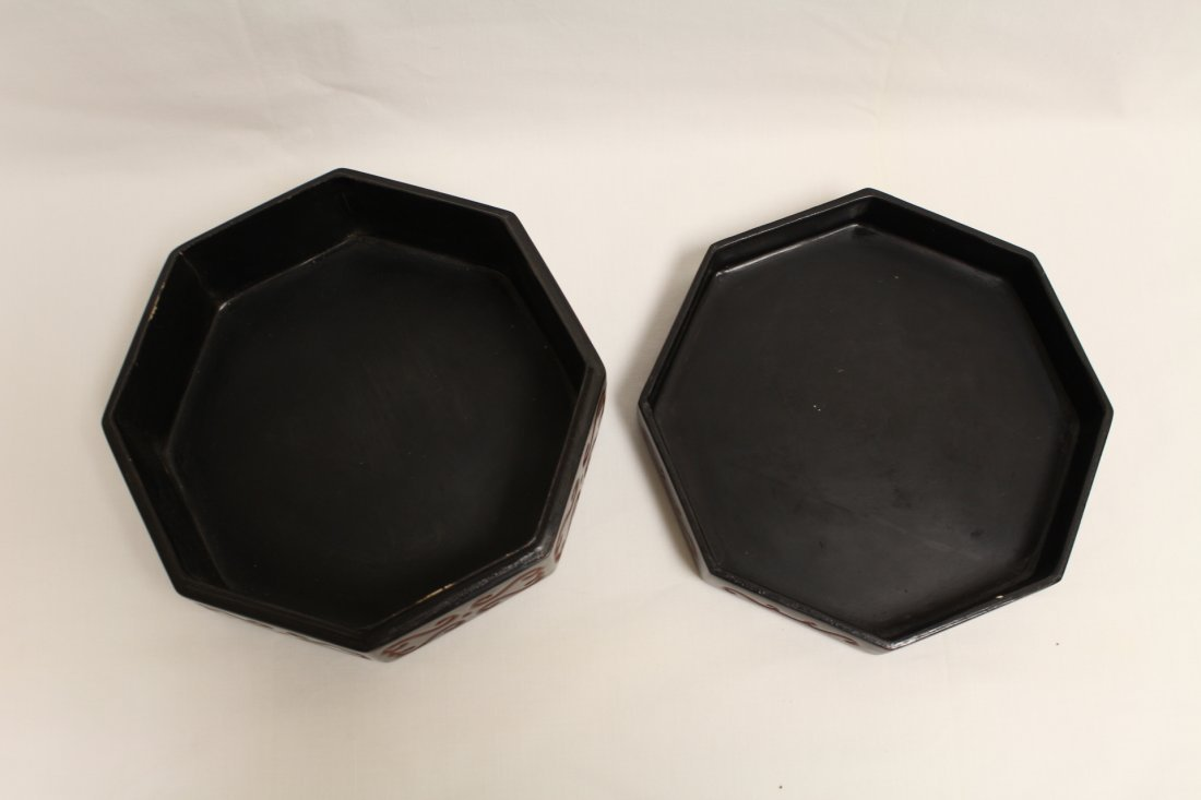 Chinese octagonal lacquer box - 5