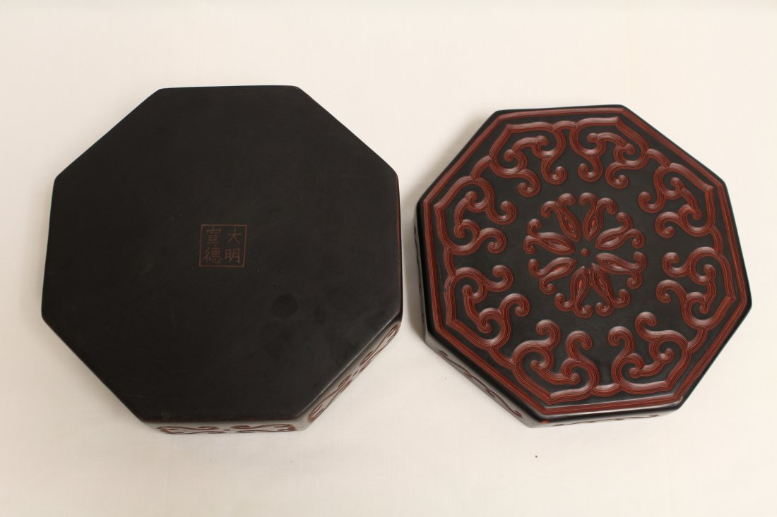 Chinese octagonal lacquer box - 6
