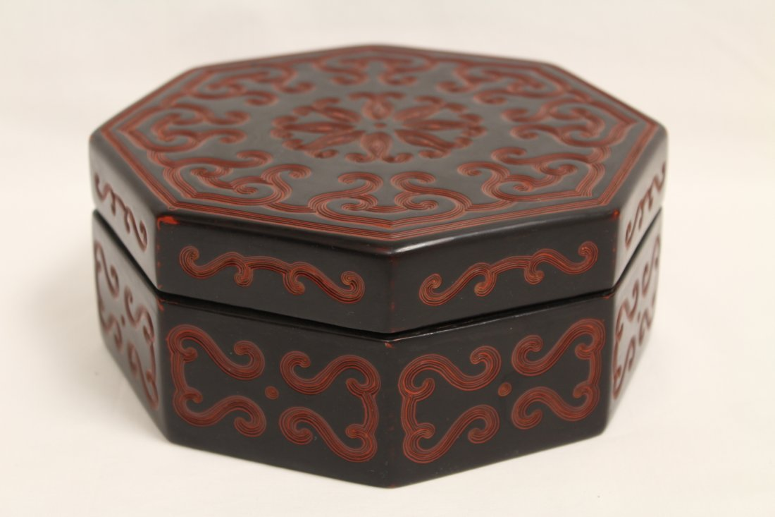 Chinese octagonal lacquer box - 9