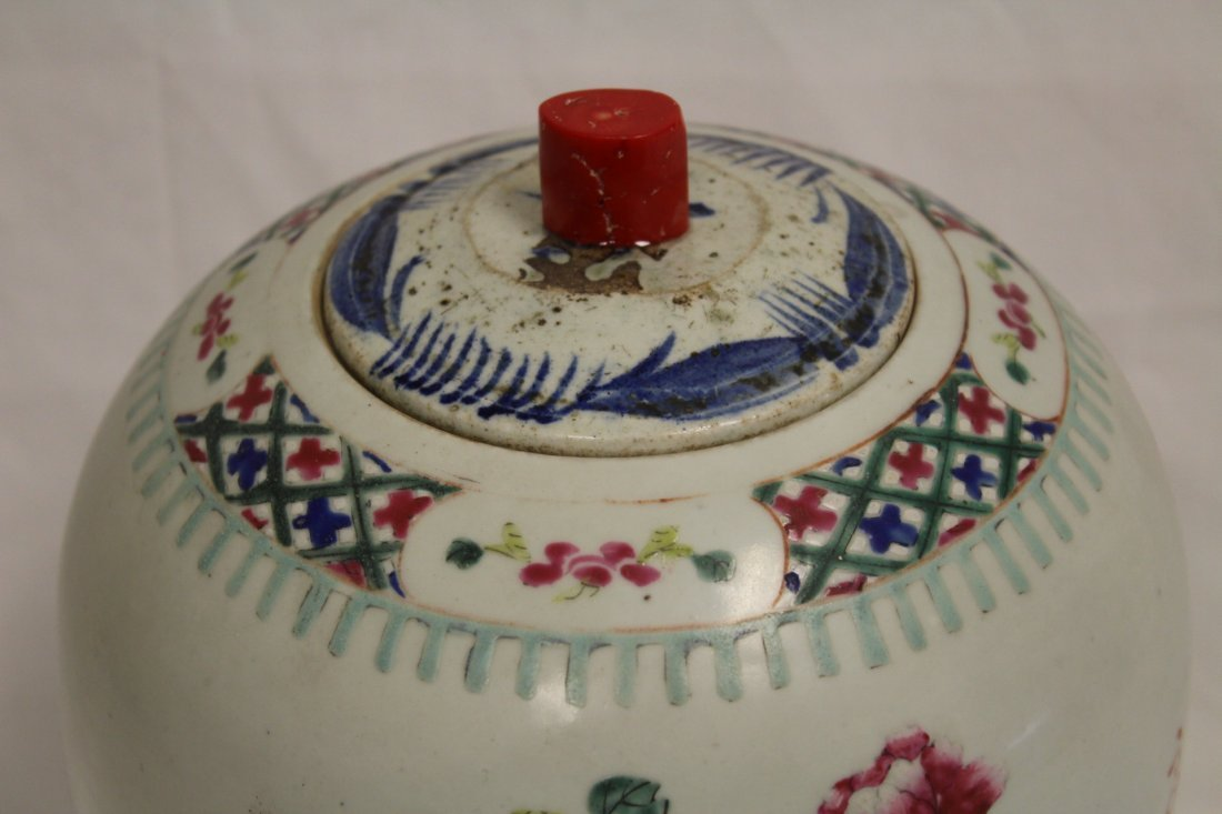 Chinese antique famille rose porcelain covered jar - 2