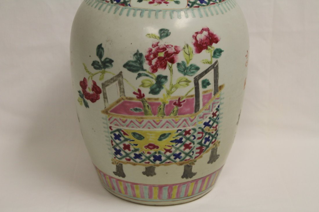 Chinese antique famille rose porcelain covered jar - 3
