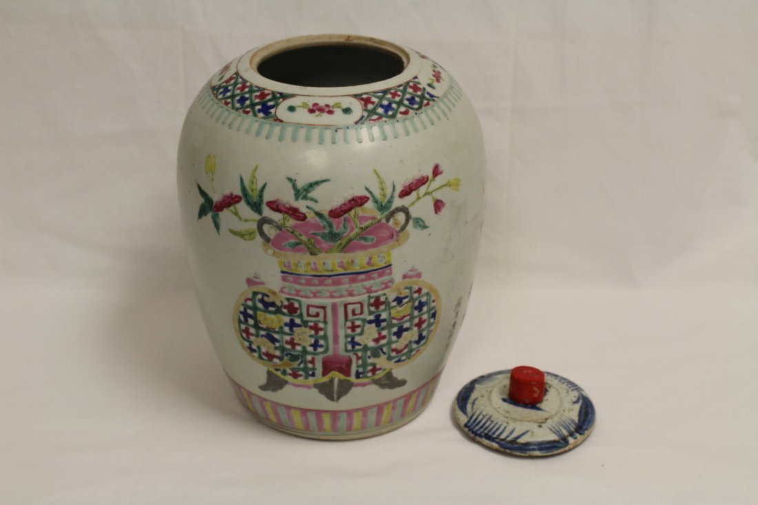 Chinese antique famille rose porcelain covered jar - 5