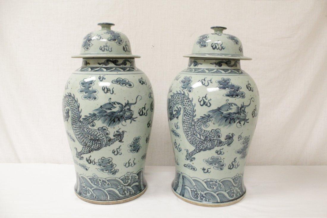 Pair blue and white porcelain jars