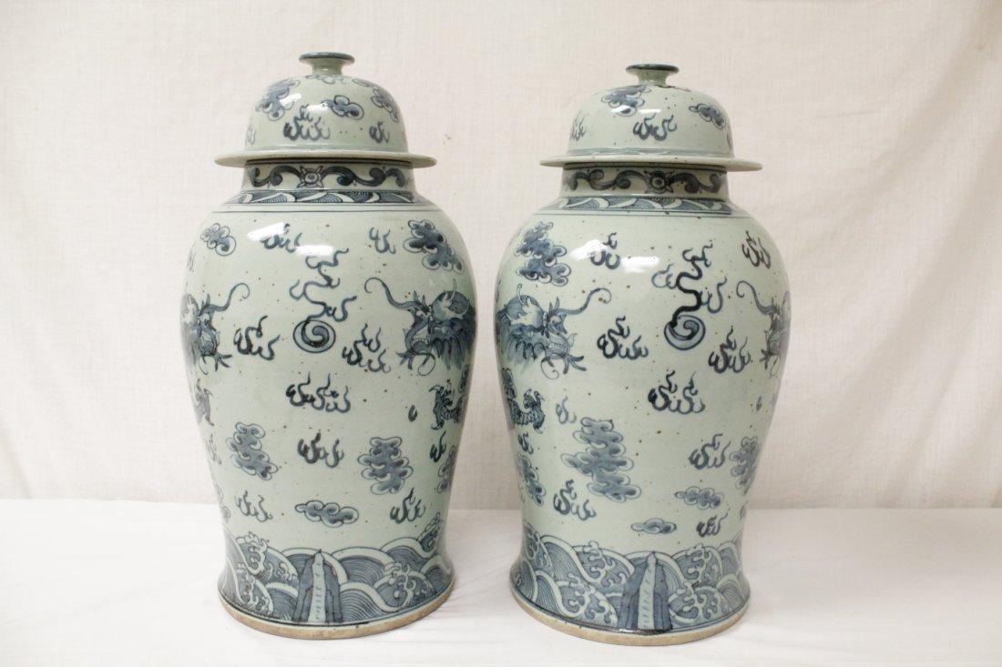 Pair blue and white porcelain jars - 2