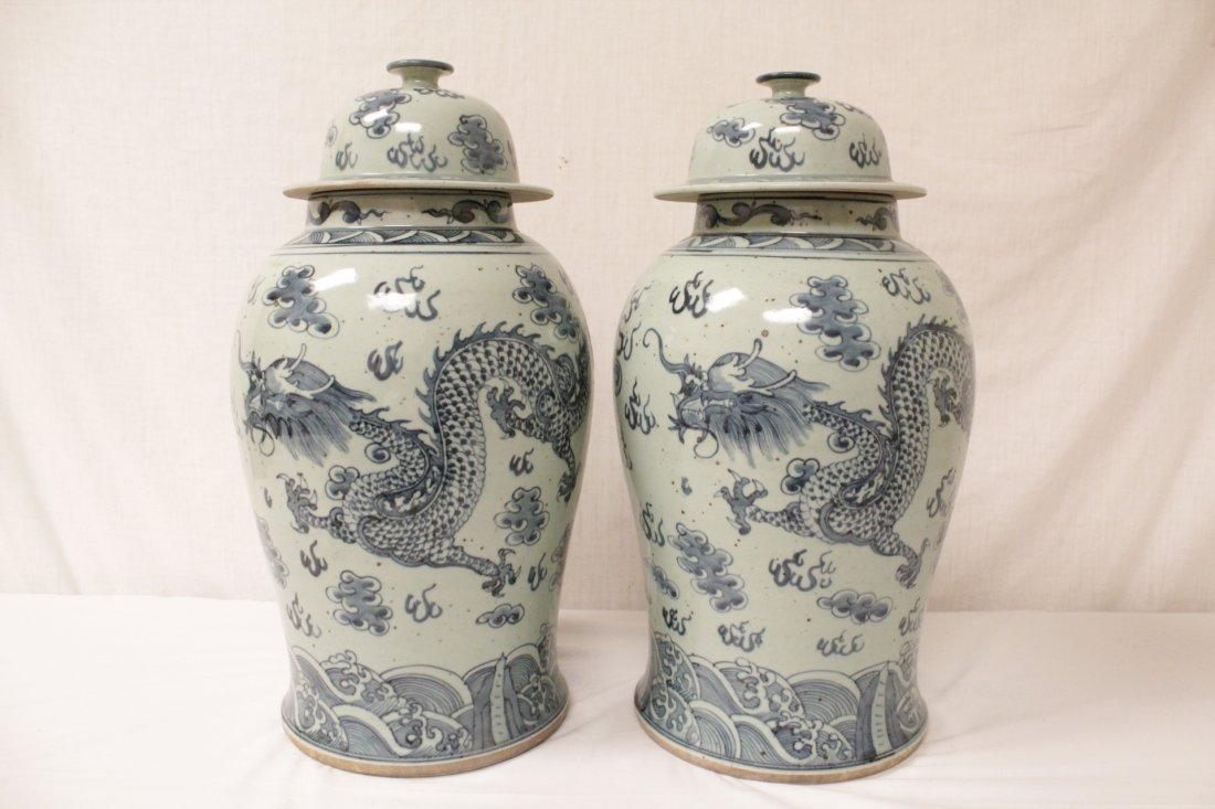 Pair blue and white porcelain jars - 3