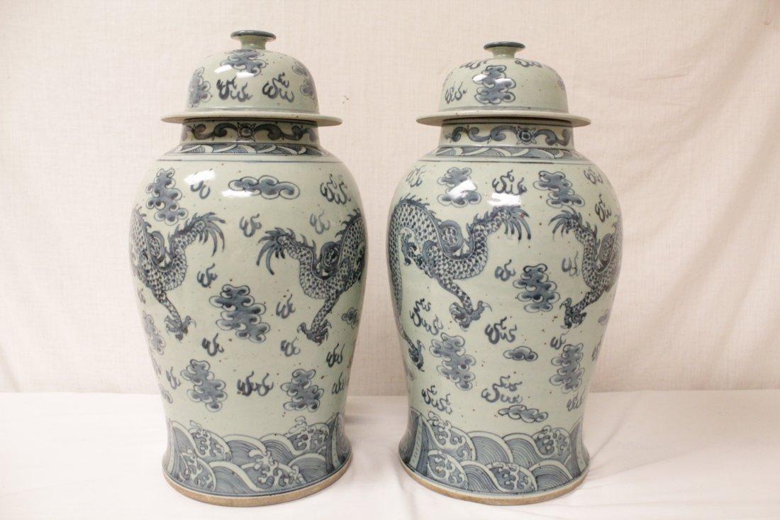 Pair blue and white porcelain jars - 4