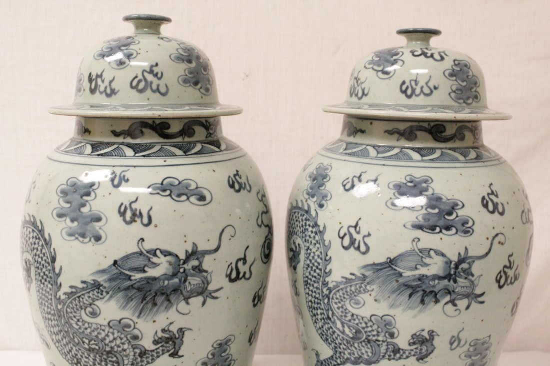Pair blue and white porcelain jars - 7