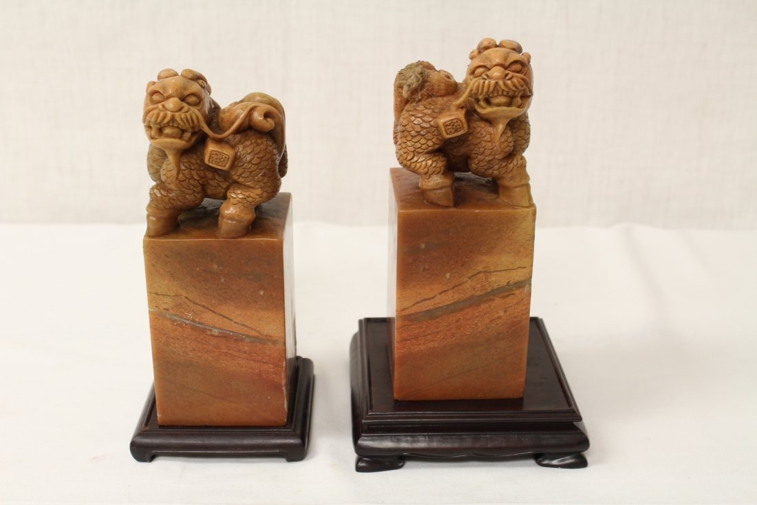 Pair Chinese shoushan stone seals