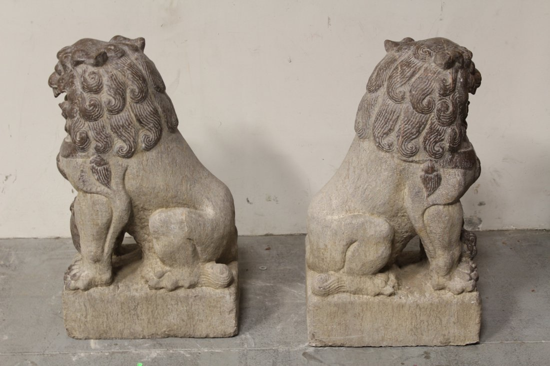 Pair magnificent Chinese stone carved large fulion - 10