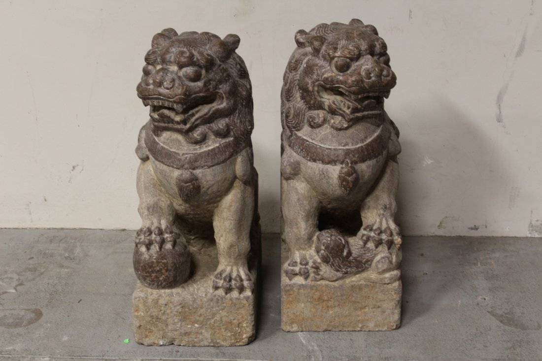 Pair magnificent Chinese stone carved large fulion