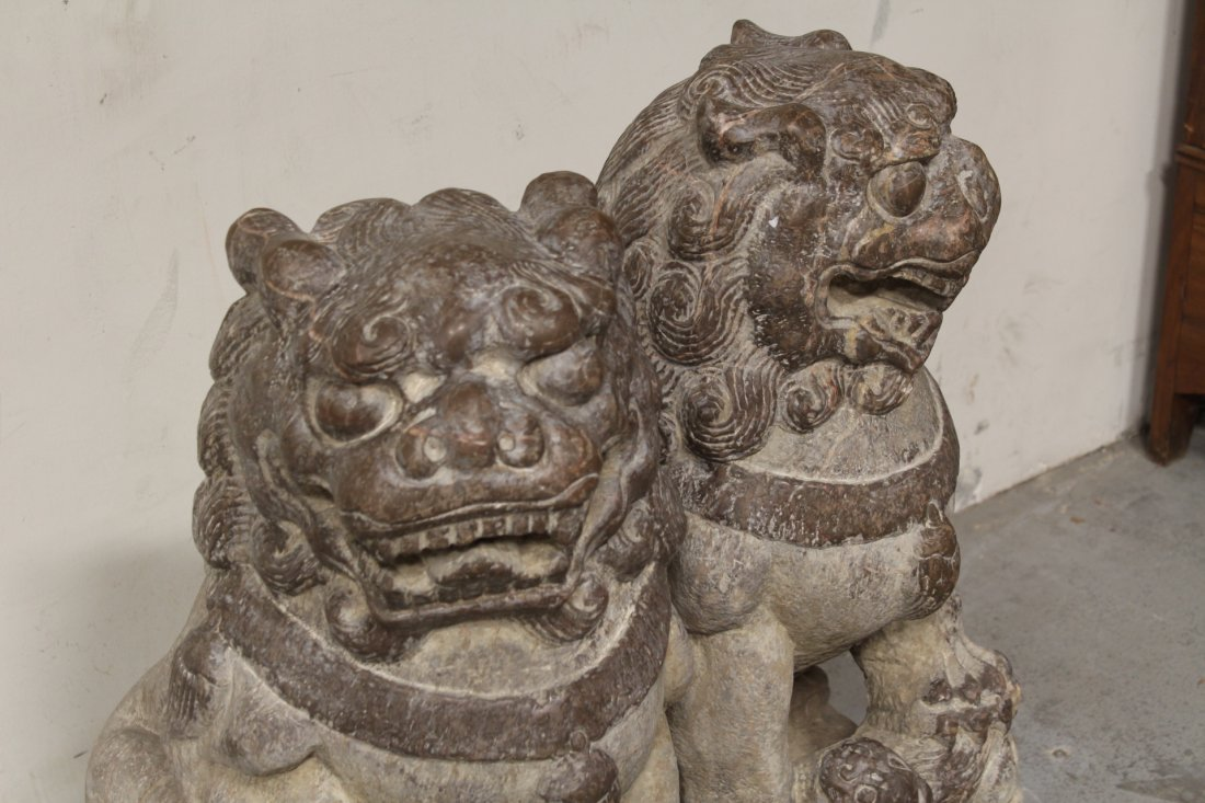 Pair magnificent Chinese stone carved large fulion - 4