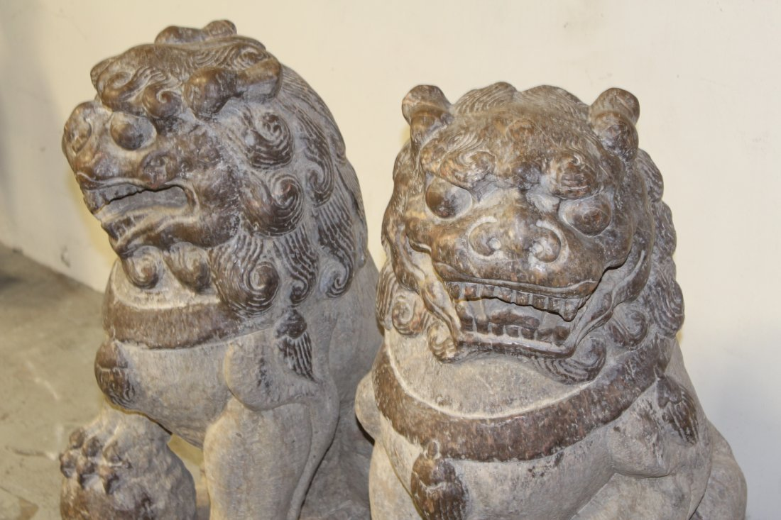 Pair magnificent Chinese stone carved large fulion - 5