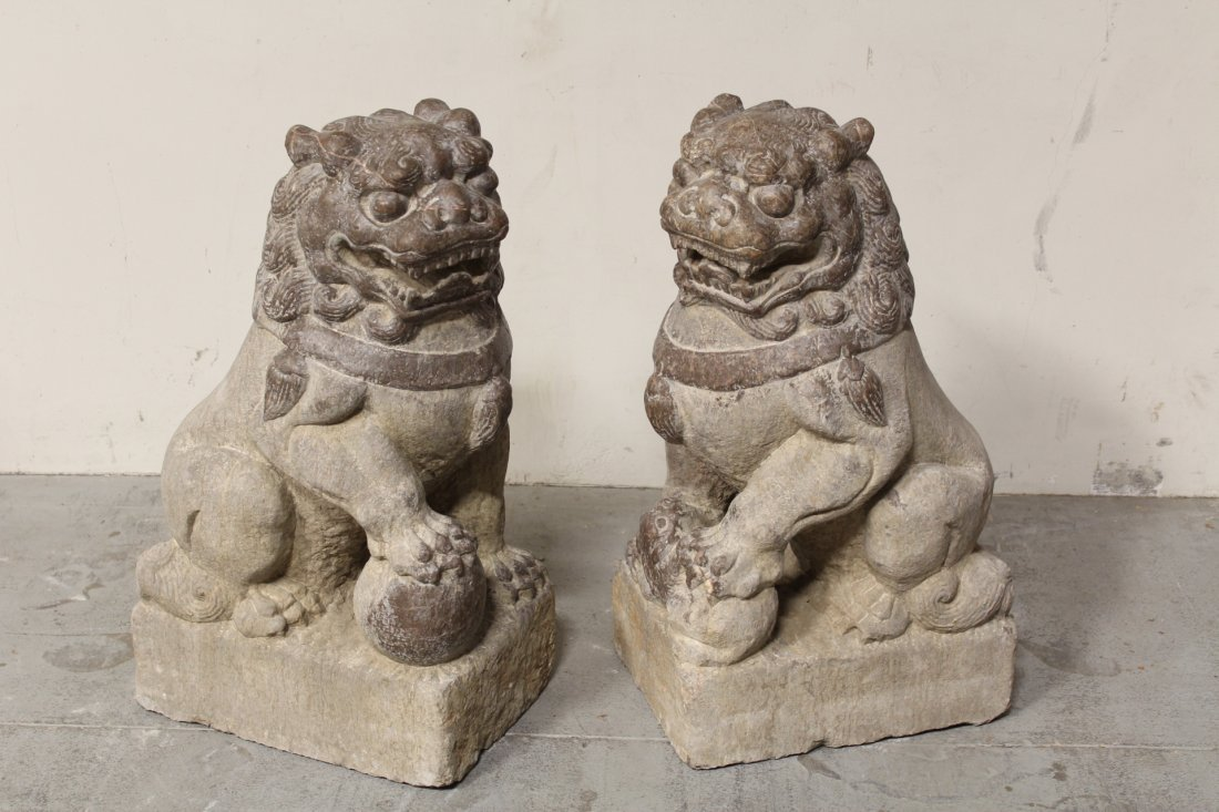 Pair magnificent Chinese stone carved large fulion - 6