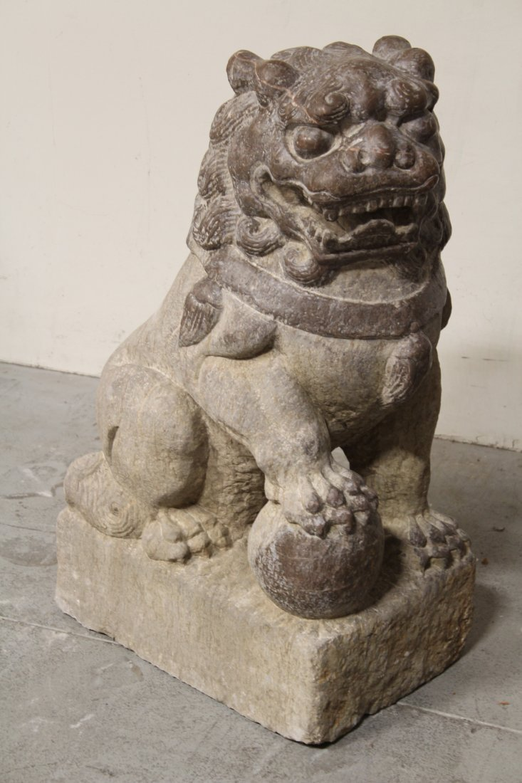 Pair magnificent Chinese stone carved large fulion - 8