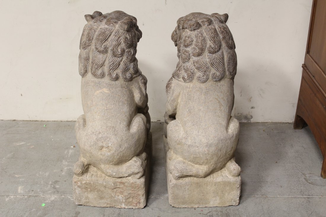 Pair magnificent Chinese stone carved large fulion - 9