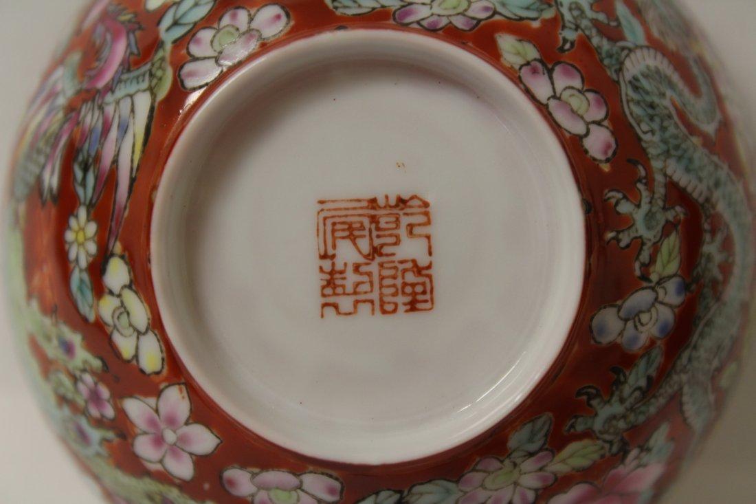 Pair enamel on egg shell small porcelain bowls - 6