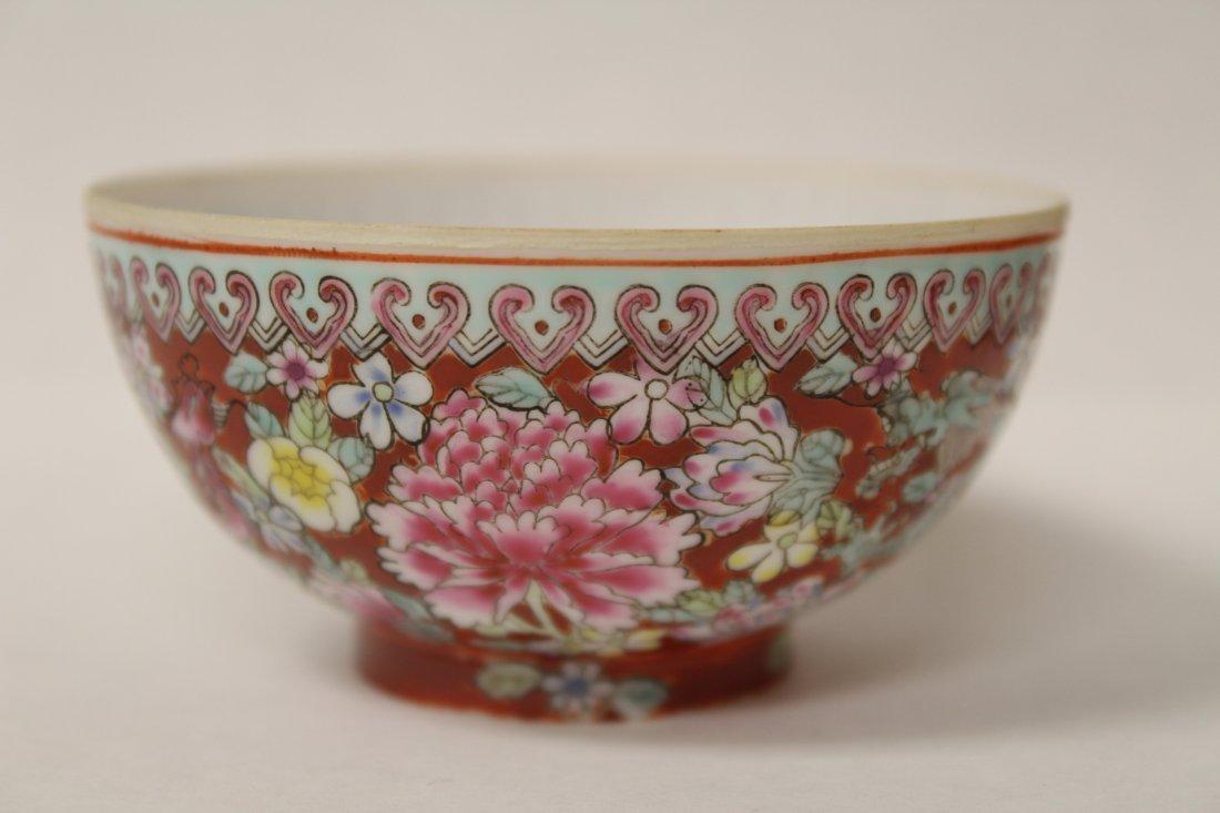 Pair enamel on egg shell small porcelain bowls - 9